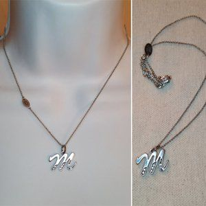"Juicy Couture ""M"" Initial Silver Tone Necklace"